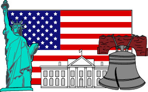 Collage of U.S. Symbols -- The flag, the Statue of Libery, the White House, and the Liberty Bell.